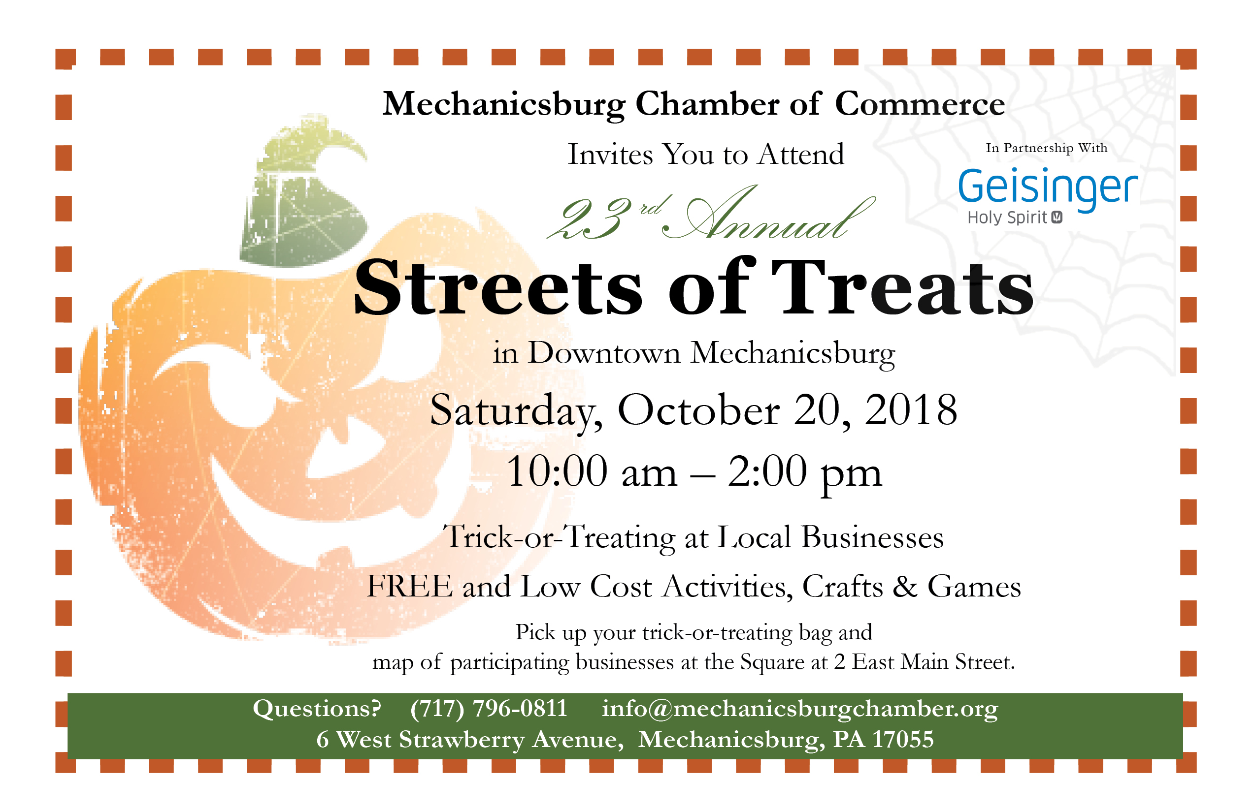 Streets of treats the mechanicsburg chamber of commerce the mechanicsburg chamber of commerce invites you to attend the 23rd annual streets of treats in downtown mechanicsburg on saturday october 20 2018 stopboris Image collections